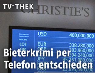 Bildschirm bei der Auktion