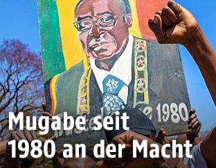 Porträt von Simbabwes Staatschef Robert Mugabe