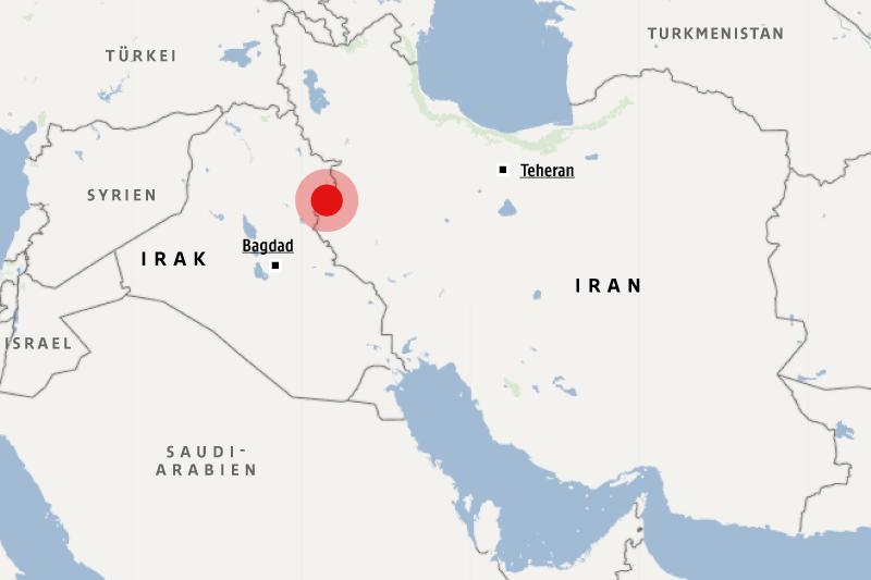 Karte zeigt das Epizentrum des Bebens im Irak