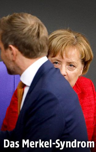 Christian Lindner (FDP) und die deutsche Bundeskanzlerin Angela Merkel (CDU)