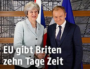 Die britische Premierministerin Theresa May und EU-Ratspräsident Donald Tusk