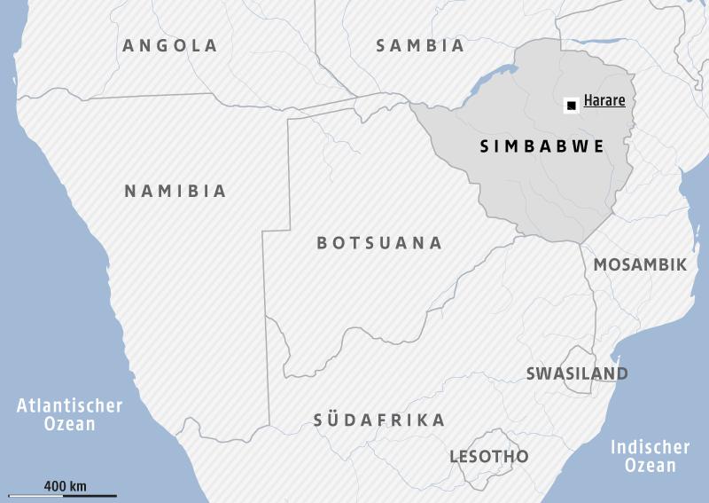 Karte zeigt das südliche Afrika