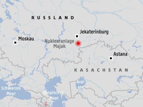 Karte vom Standort des AKWs Majak