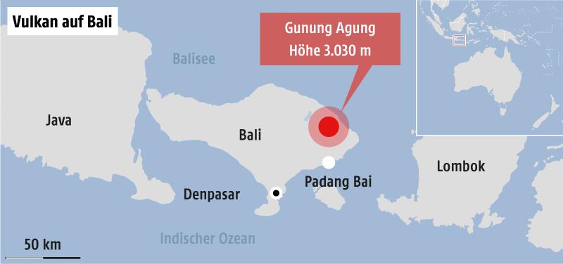 Karte von Indonesien mit Schwerpunkt Bali