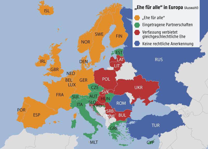 Grafik zeigt stilisierte Europakarte mit Ländern eingefärbt nach rechtlicher Situation gleichgeschlechtlicher Partnerschaften