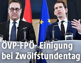 FPÖ-Obmann Heinz-Christian Strache und ÖVP-Chef Sebastian Kurz
