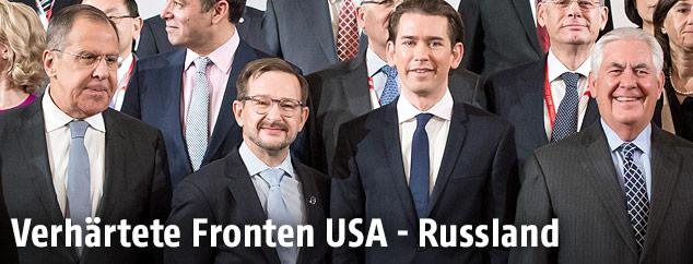 Sergey Lavrov, Thomas Greminger, Sebastian Kurz und Rex Tillerson