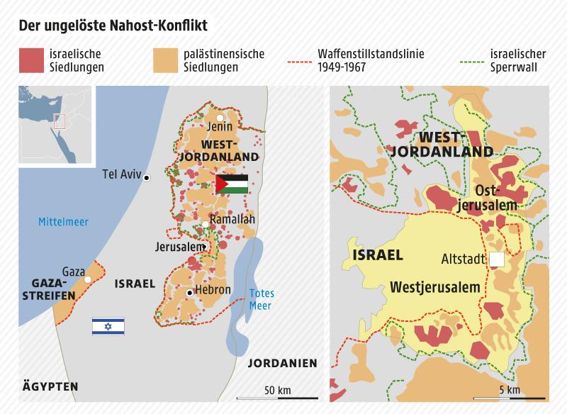 Karte zeigt die Zusammenhänge des Nahost-Konflikts