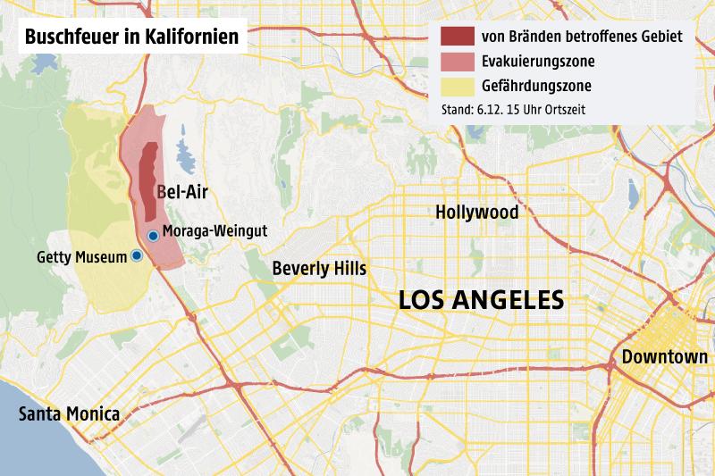 Karte zeigt das von Buschfeuern betroffene Gebiet in Kalifornien