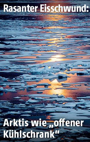 Sonnenlicht über Arktis-Eis