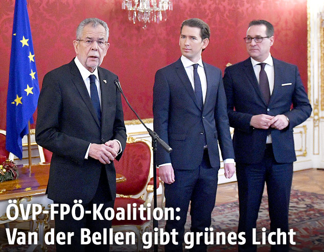 Bundespräsident Van der Bellen, Sebastian Kurz (ÖVP) und Heinz Christian Strache (FPÖ)