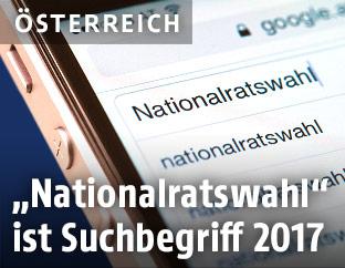 """Suchbegriff """"Nationalratswahl"""" in einem Eingabefeld"""