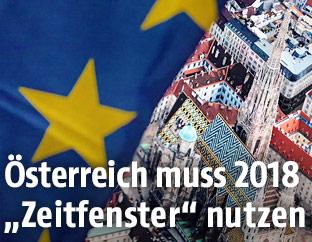 Stephansdom hinter EU-Fahne