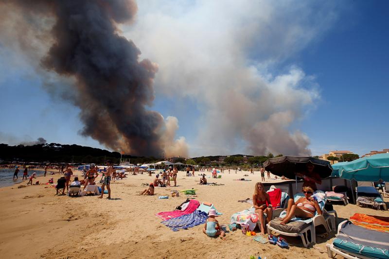 Strand mit Waldbrand im Hintergrund
