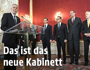 Bundespräsident Alexander Van der Bellen bei der Angelobung der Bundesregierung
