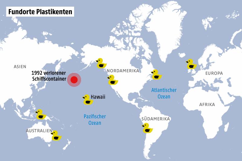 Grafik zeigt die Fundorte von im Pazifik verlorener Plastikenten