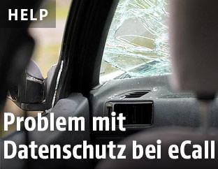 Innenansicht eines Unfallautos