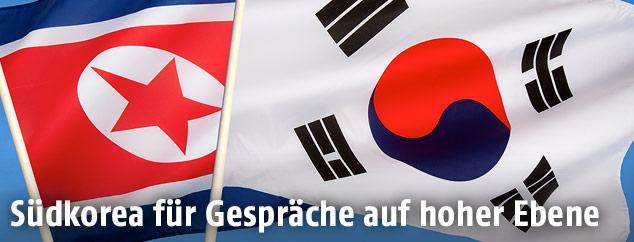 Nordkoreanische und südkoreanische Flagge