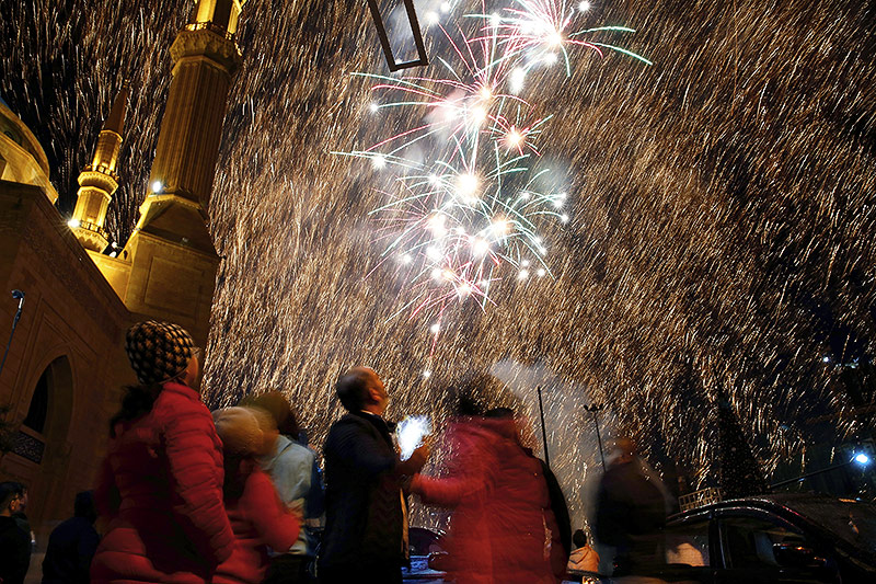 Feuerwerk über Beirut