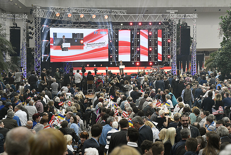 Bundesparteiobmann Heinz Christian Strache (FPÖ) beim Neujahrstreffen der FPÖ in Vösendorf