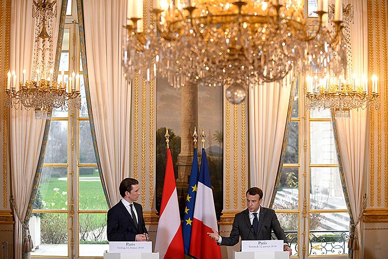 Bundeskanzler Sebastian Kurz und Frakreichs Präsident Emmanuel Macron