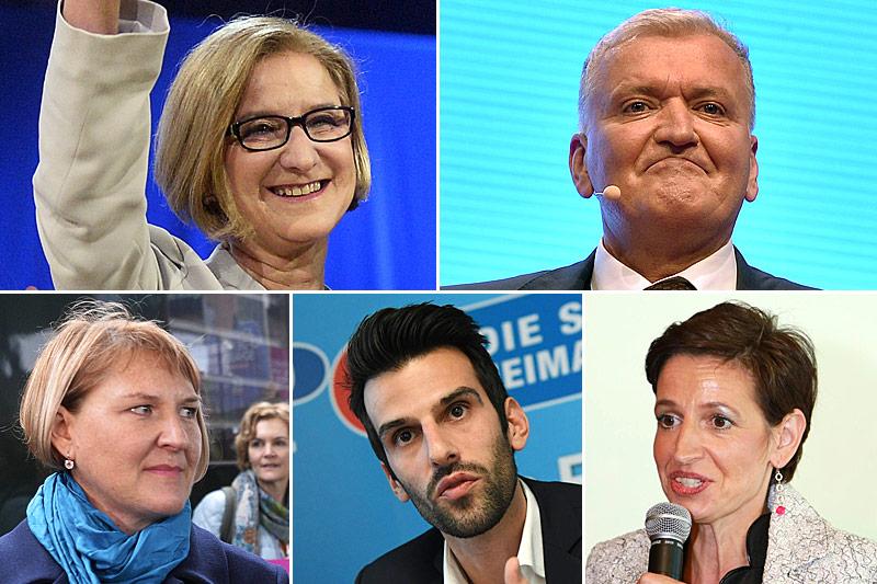 Spitzenkandidaten und Spitzenkandidatinnen der niederösterreichischen Landtagswahl: Johanna Mikl-Leitner, ÖVP, Franz Schnabl, SPÖ, Udo Landbauer, FPÖ, Helga Krismer, Grüne,Indra Collini, NEOS