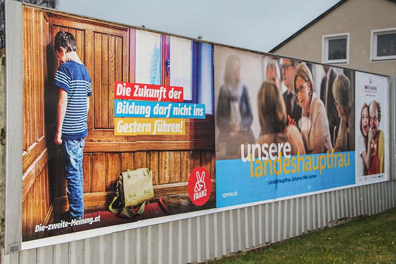 Wahlplakate der ÖVP und der SPÖ Niederösterreich