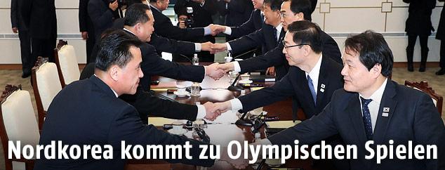 Delegationen beim Handshake
