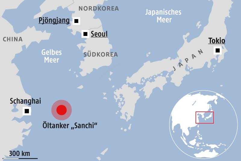 """Karte zeigt Öltanker """"Sanchi"""""""