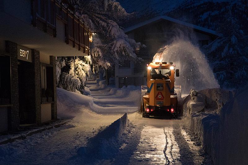 Schneeräumung in Zermatt