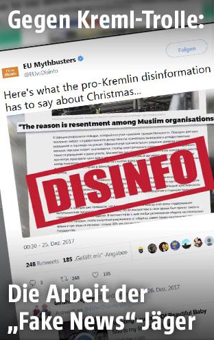 """Screenshot der Twitter-Seite von EUvsDisinfo zeigt die Aufschrift """"DISINFO"""""""