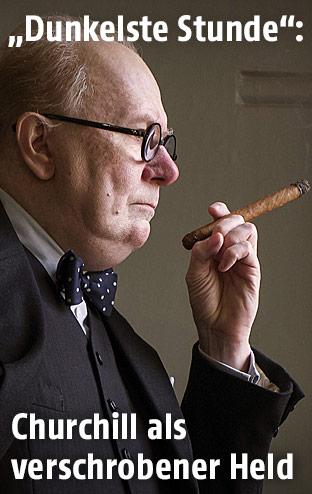 """Schauspieler Gary Oldman als Winston Churchill im Film """"Die dunkelste Stunde"""""""