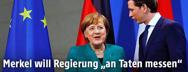 Die deutsche Bundeskanzlerin Angela Merkel und Österreichs Bundeskanzler Sebastian Kurz