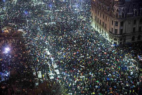 Demonstranten in Bukarest