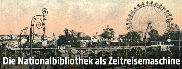Ansichtskarte aus dem Jahr 1915 zeigt die Ausstellungsstraße mit Praterstern und Riesenrad