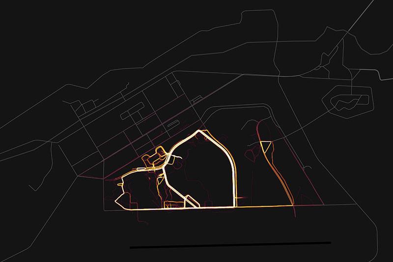 Screenshot zeigt visuelle Bewegungsdaten auf der Al Asad Airbase im Irak