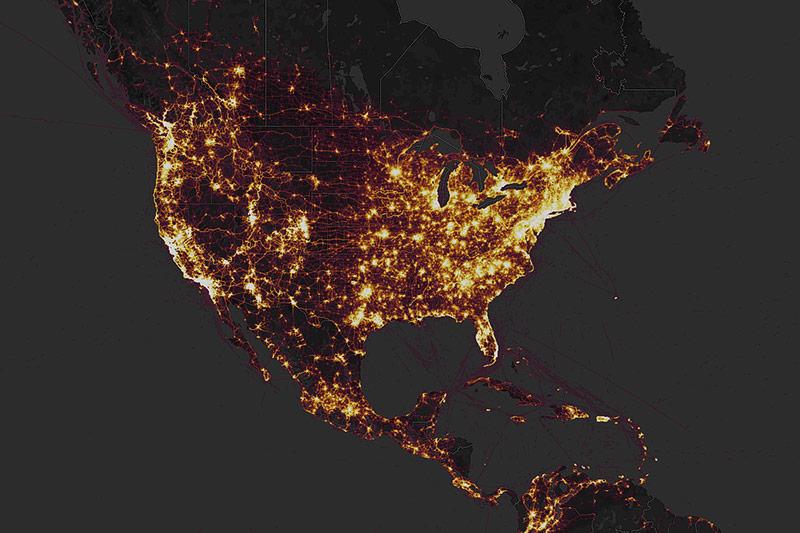 Screenshot zeigt visuelle Bewegungsdaten in den USA auf einer Heatmap