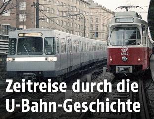 U4 und Stadtbahn in der Station Friedensbrücke im Jahr 1988