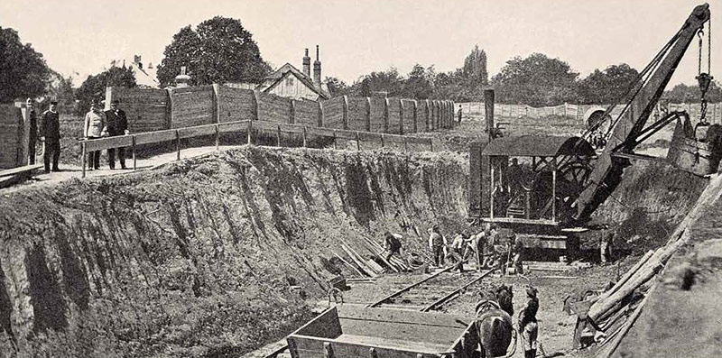 Kaiser Franz Josef besucht 1896 die Bauarbeiten am Wienfluss