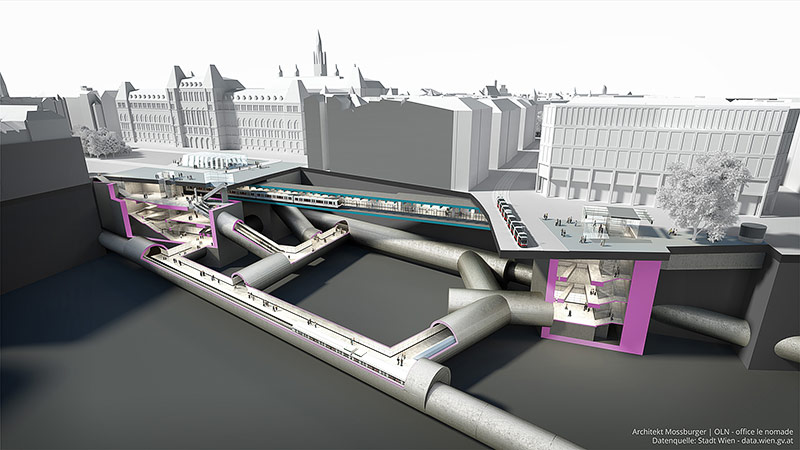 Visualisierung des künftigen U2/U5-Linienkreuzes Station Rathaus
