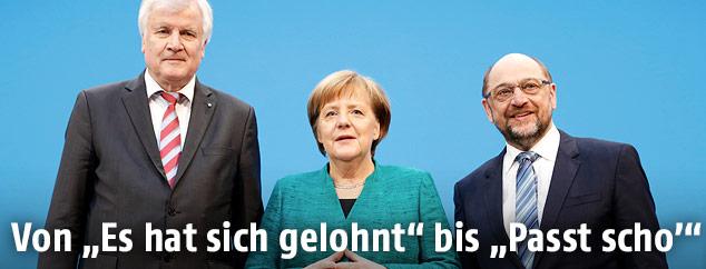 Angela Merkel, Martin Schulz und Horst Seehofer