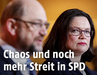 SPD-Parteivorsitzende Martin Schulz und die SPD-Fraktionsvorsitzende Andrea Nahles