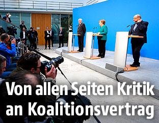 Angela Merkel (CDU), Horst Seehofer (CSU) und Martin Schulz (SPD)