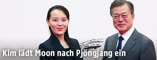 Südkoreas Präsident Moon Jae und Kim Yo Jong, die Schwester von Nordkoreas Machthaber Kim Jong Un