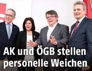 Rudolf Kaske, ÖGB-Frauenchefin Renate Anderl, GPA-Vorsitzender Wolfgang Katzian und ÖGB-Präsident Erich Foglar
