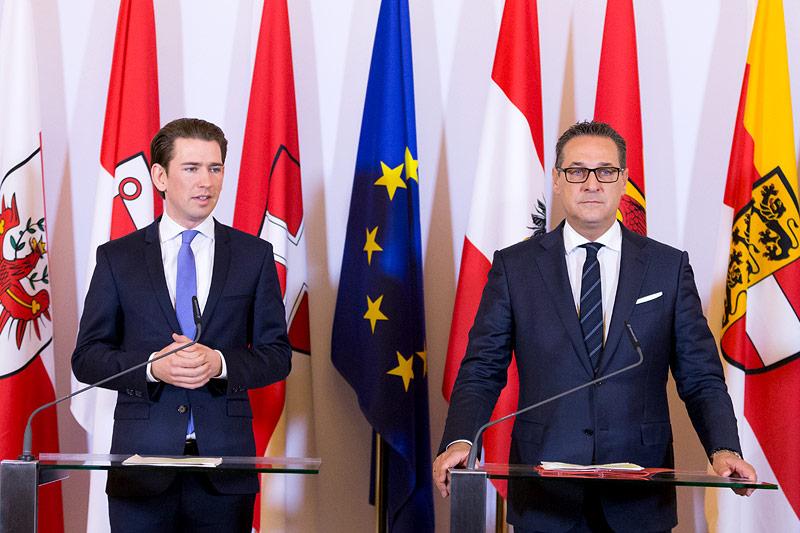 Bundeskanzler Sebastian Kurz und Vizekanzler Heinz-Christian Strache Strache