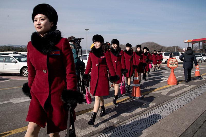 Nordkoreanische Cheerleader in Pyeongchang