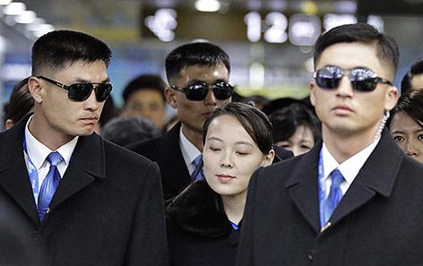 Die Schwester von Nordkoreas Machthaber Kim Jong Un, Kim Yo Jong, nach ihrer Ankunft in Pyeongchang