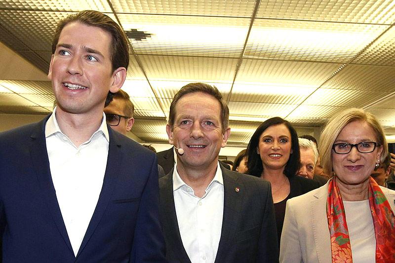 Bundeskanzler Kurz, Kärntner Spitzenkandidat Benger, Ministerin Köstinger und Landeshauptfrau Mikl-Leitner