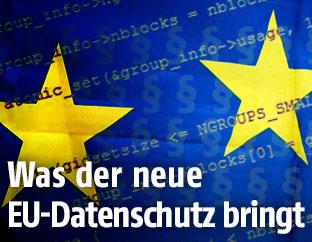 Code und Paragraphen über einer EU-Fahne